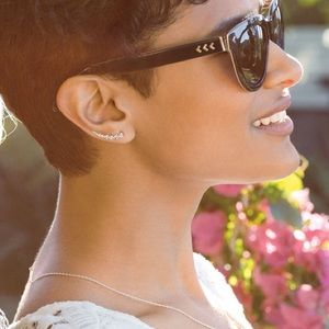 Stella & Dot | Pavé Triangle Path Ear Climbers